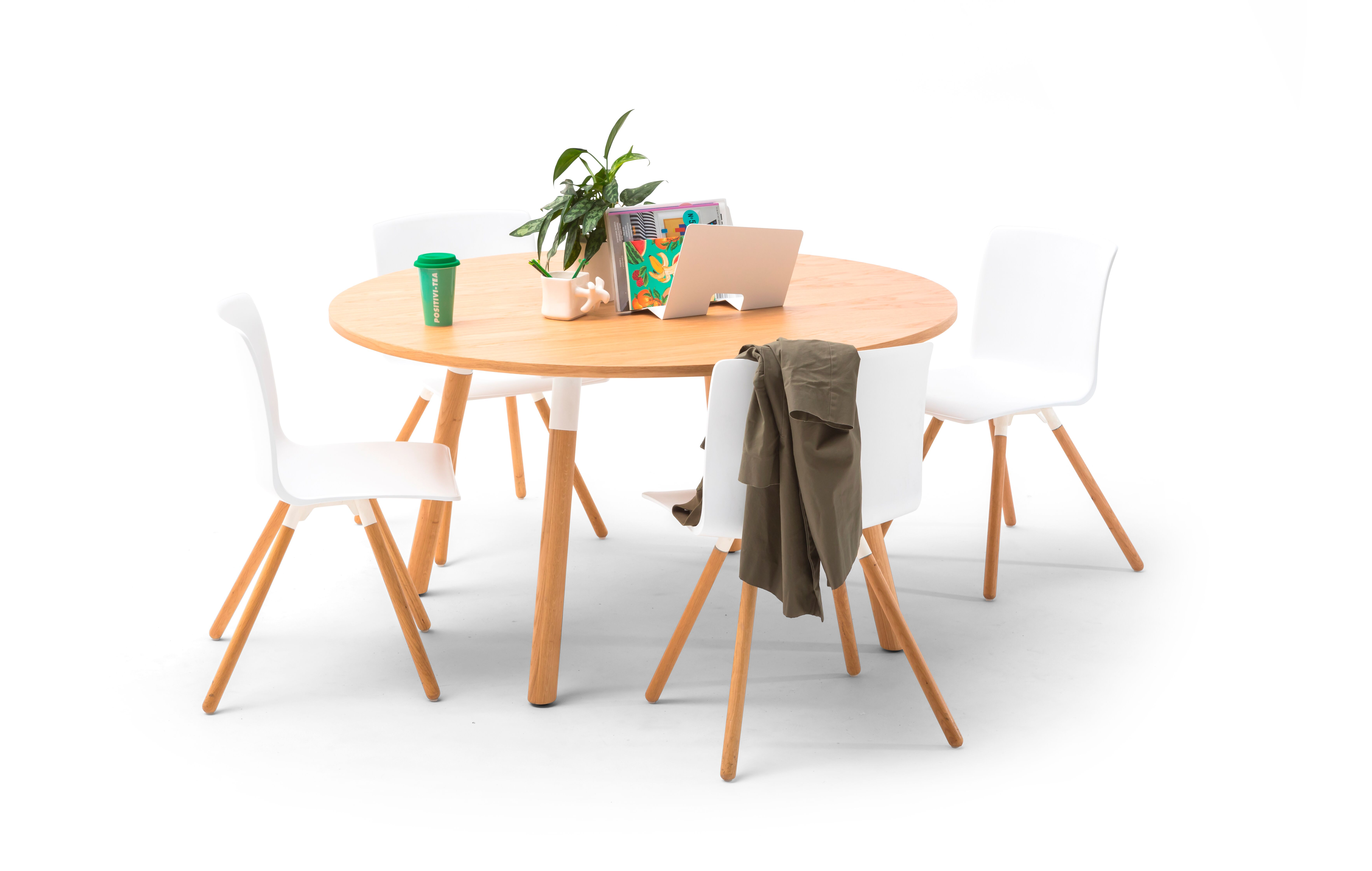 Gispen TEAM Wood round conference table with oak legs and white frame and tabletop with white Nomi Wood chairs front view