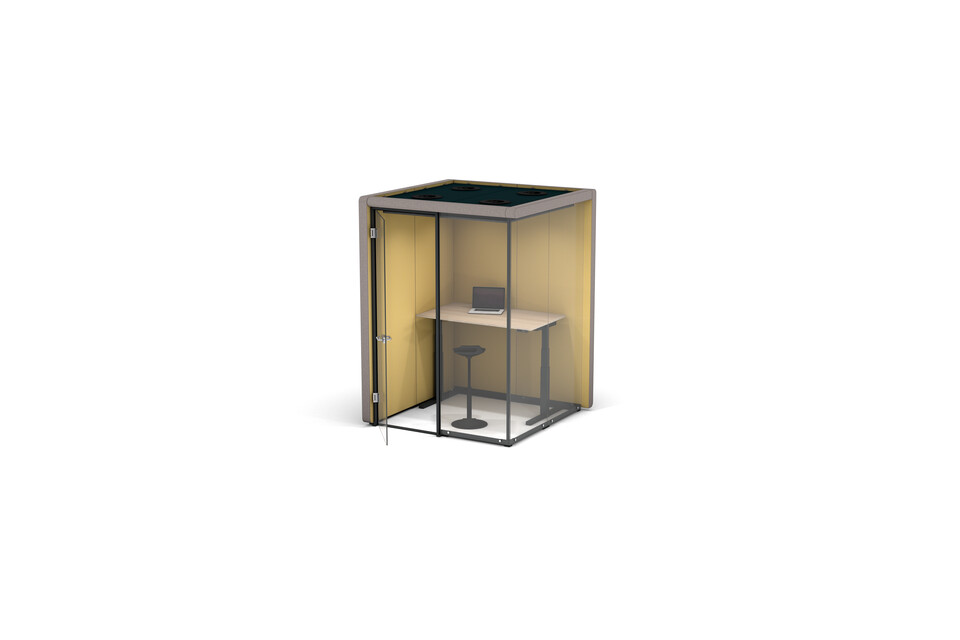 Gispen MOXX space in space 2 by 2 panels upholstered in grey and yellow with swivel door and TMNL sit stand workstation front right view
