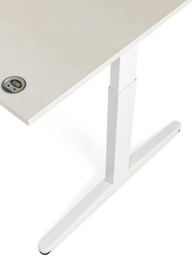 Royal Ahrend Balance workstation in white with grey maple worktop and height display right top detail view