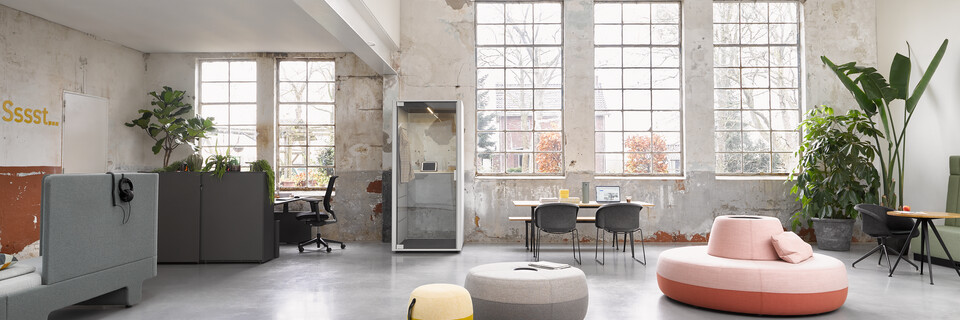 Ahrend Loungescape Powernap and SDK Balance with Ease and Qabin with Recharge Pyramid and Well armchairs in a Hybrid working community setting