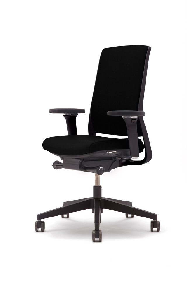 Gispen Zinn office chair upholstered in black with black frame front right view