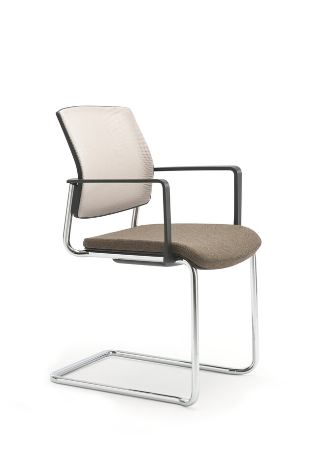 Gispen Zinn 48A cantilever visitor chair with armrests and stackable frame and brown seat and Off white 61128 back front left view