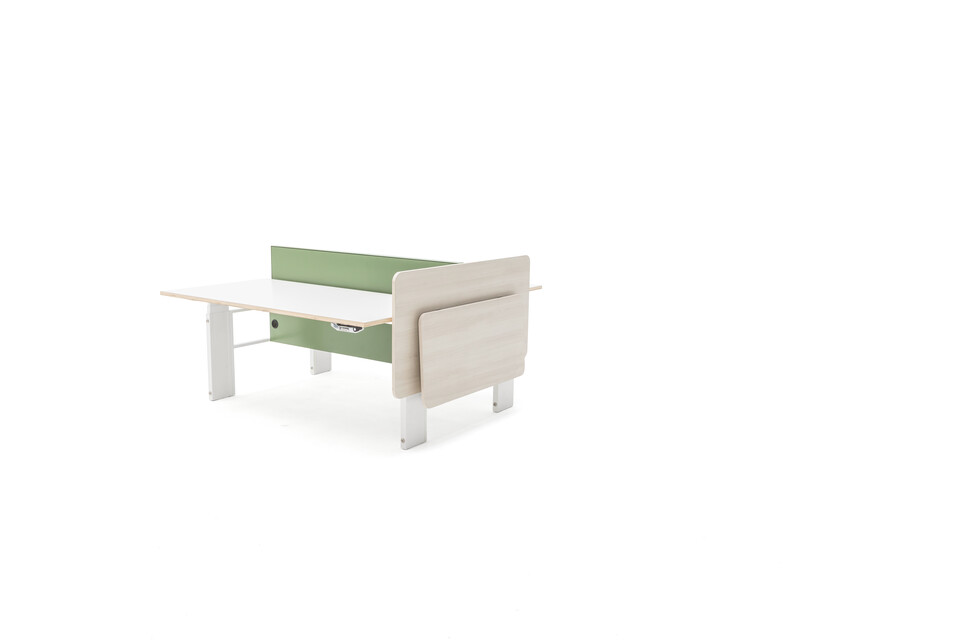 Gispen Cimo dual table with white frame and beech light wooden cover right with folding table folded with white plywood tabletops and green steel screen perforated front right view