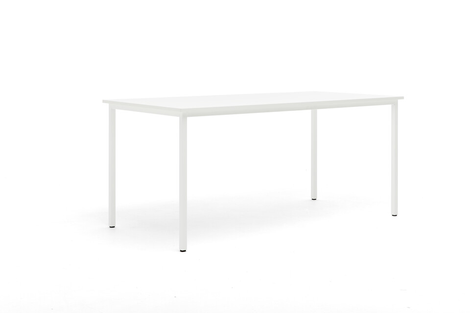 Gispen UT table with white frame and tabletop front left view