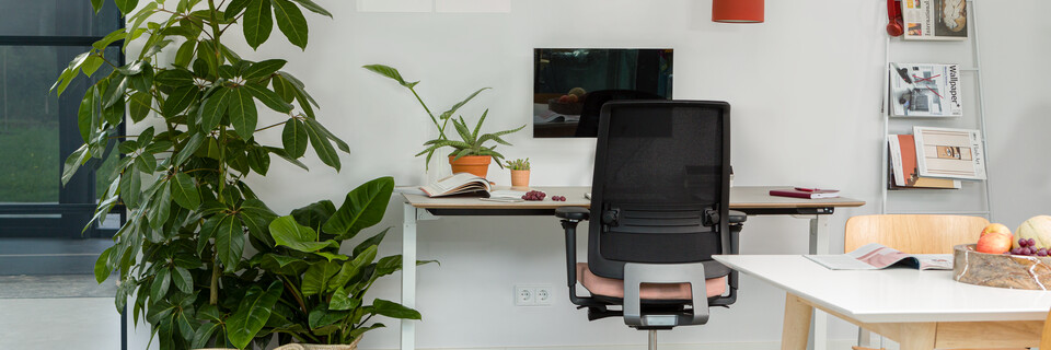 Royal Ahrend balance workstation in white with oak tabletop with Ease office chair upholstered in pink and black interior view