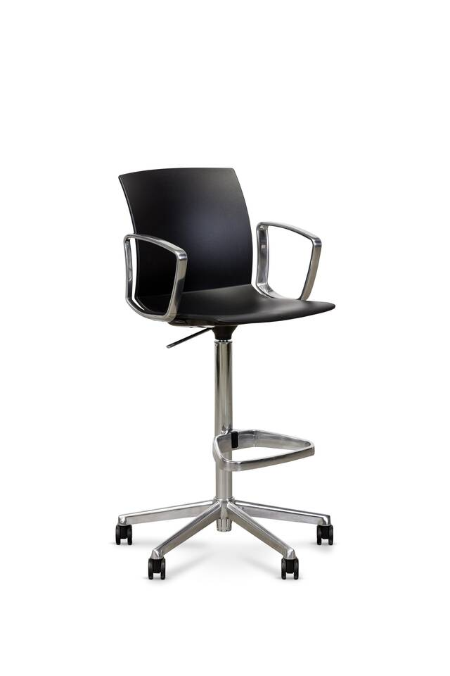 Royal Ahrend Well Work chair with circular black shell with polished frame and armrests front left view