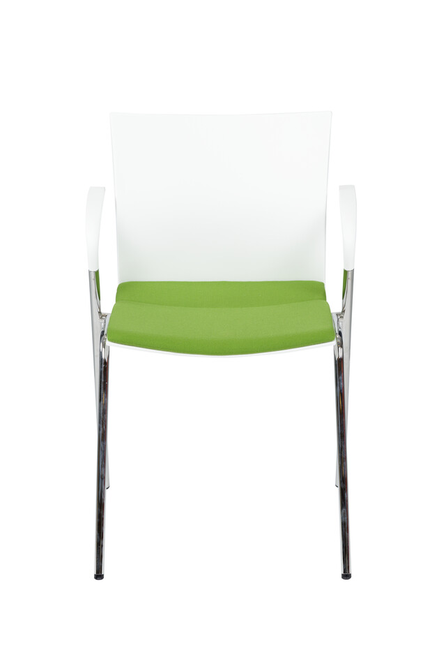 Royal Ahrend 463 4 leg chair with armrests and white shell with green upholstered seat front view