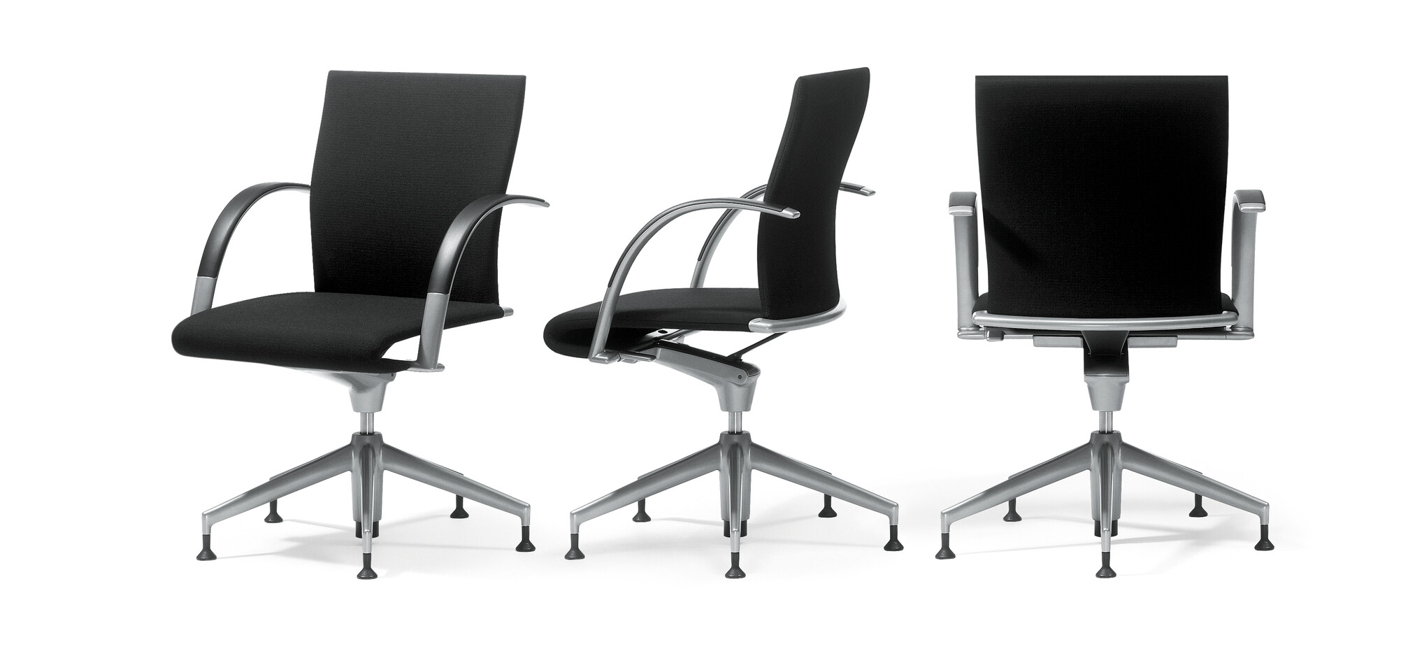 Royal Ahrend 350 office chairs upholstered in black front right and side view