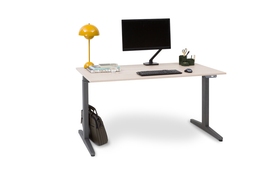 Royal Ahrend Balance workstation in grey with oak tabletop front left view