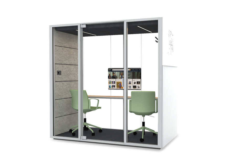 Royal Ahrend Qabin Chat space in space in grey with green Well chairs front right view