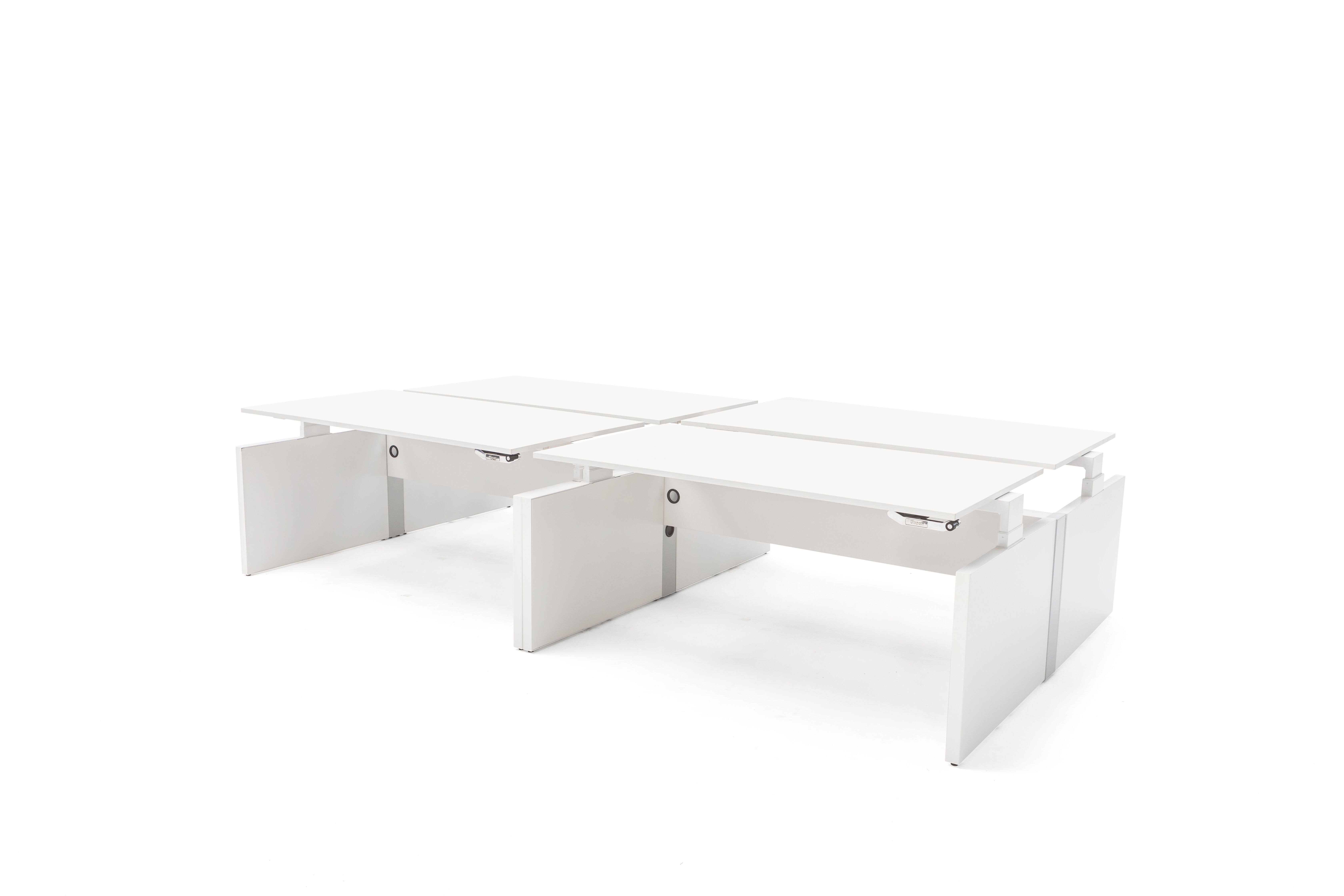 Gispen Cimo dual tables 4 pack with white frame and mono linkable panel legs with white chipboard tabletops front right view