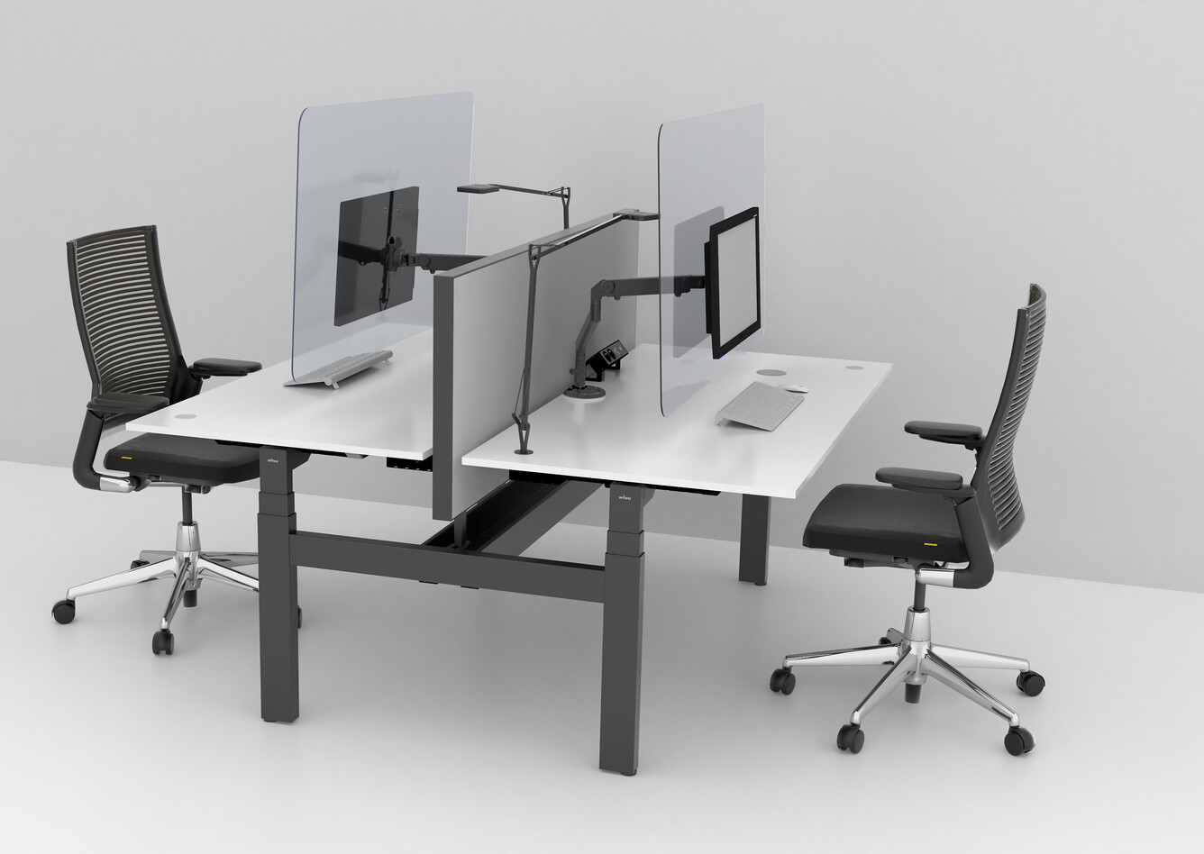 Royal Ahrend Balance dual desks in grey with transpartent screens and 2020 Extra Verta office chairs front left view