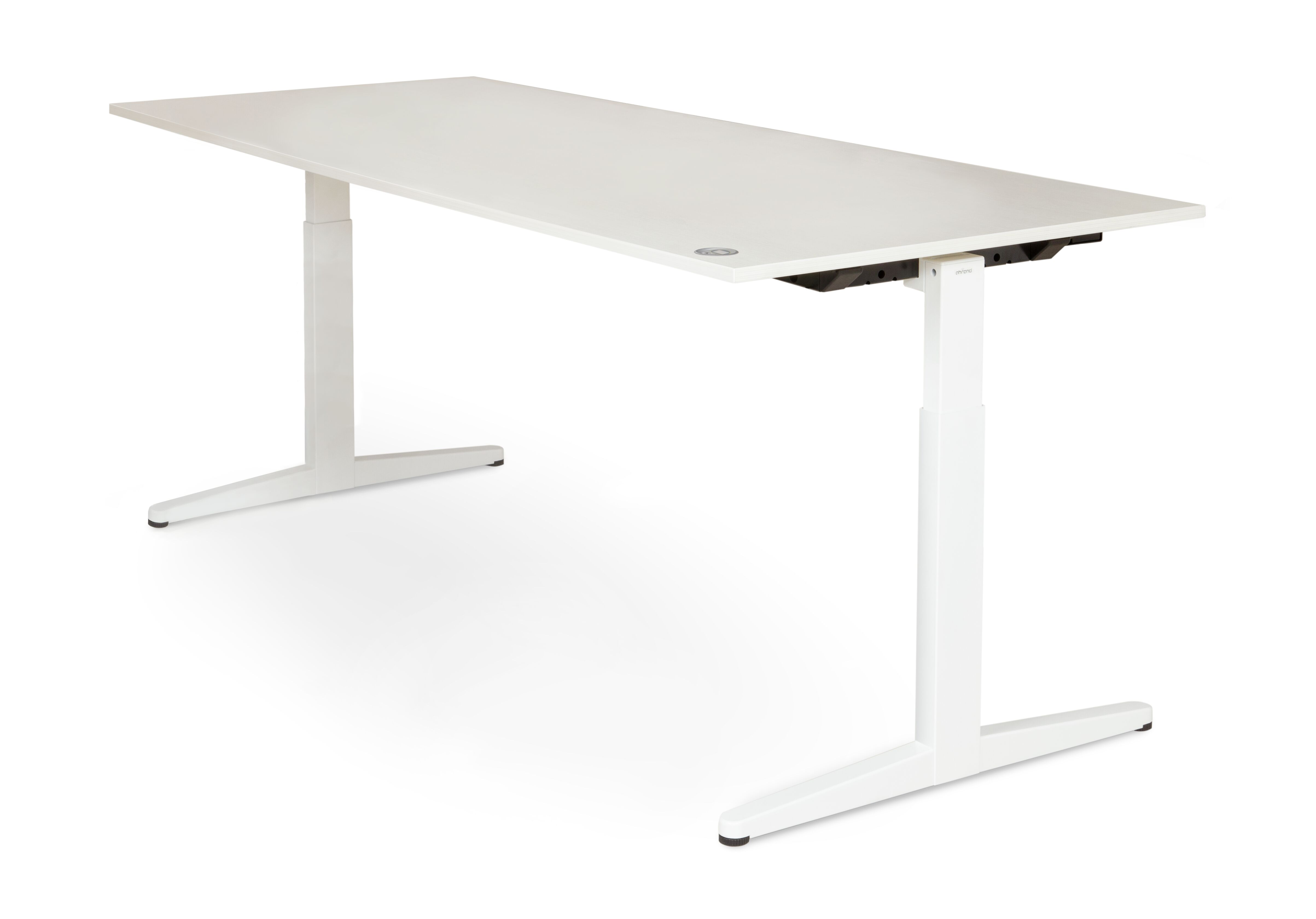 Royal Ahrend Balance workstation in white with grey maple worktop front right view