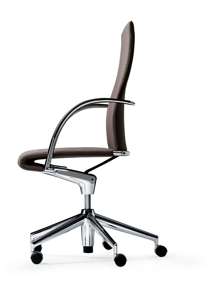 Royal Ahrend 350 office chair upholstered in brown grey right side view
