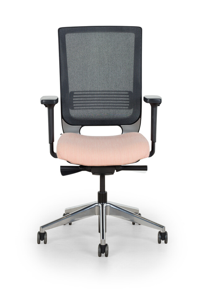 Royal Ahrend Prime office chair upholstered seat in pink and black back front view