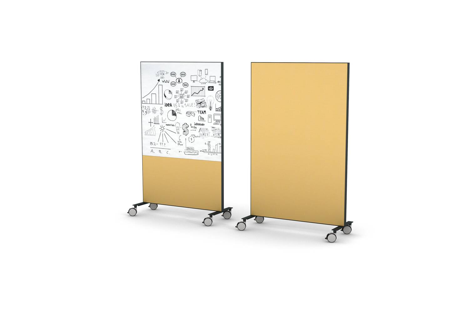 Gispen SEPP mobile floorpanels fully upholstered in yellow and one with whiteboard front right view