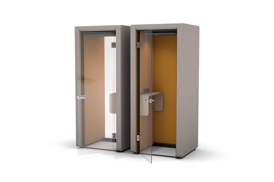 Gispen MOXX phonebooths upholstered in grey and yellow side by side front right view