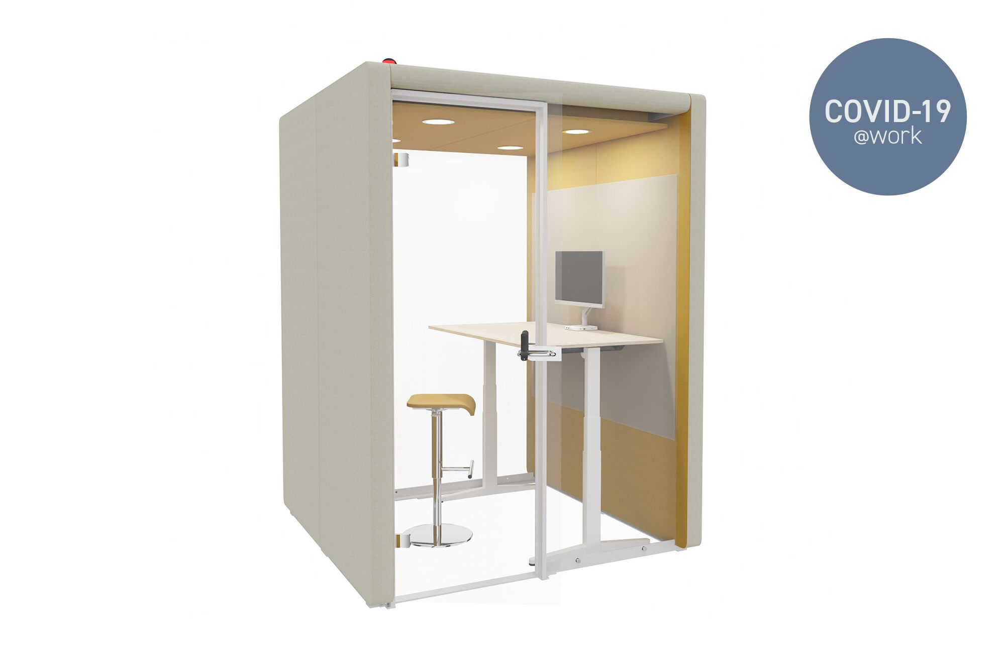 Large Royal Ahrend Flexbox space in space in beige with hand free door opener and balance desk with yellow barstool and occupancy indicator front left view with Covid 19 label