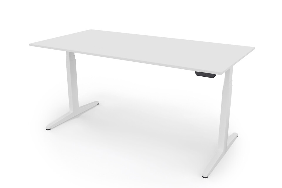 Ahrend Balance ZS desk 160 frame in white and tabletop in white front left view
