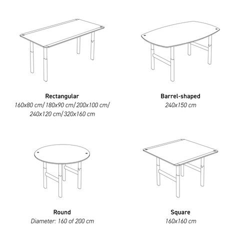 Ahrend Balance Scrum tables line art with sizes